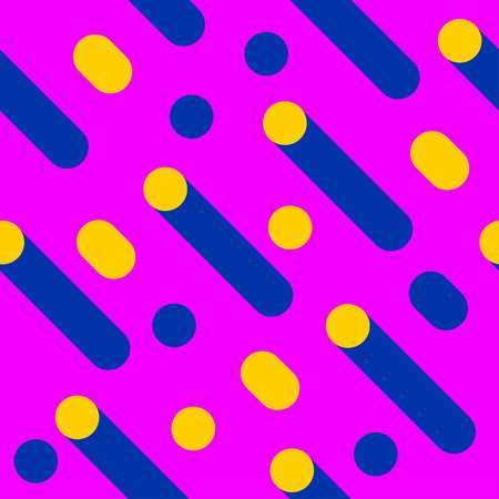 Seamless memphis pattern, geometric pattern, cylinders and circles, vector element design, retro background Stock Photo
