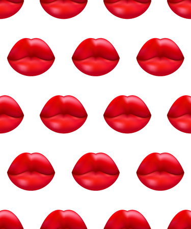Seamless pattern beautiful lips, banner kiss, wrapping paper for valentines day, vector wallpaper