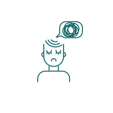 Persona deprimida, icono de niña triste, personaje de vector con malos pensamientos