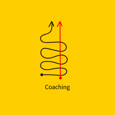 Icon coaching, logistics, straight and tortuous lines, fast goal achievement, business success, professional development, vector abstract sketch