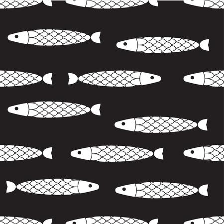 Seamless pattern decorative abstract fish, vector fish background, marine life, geometric fish print, fishing