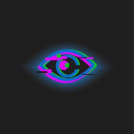 Glitch eye, neon vector eye, linear gradient icon Stock Photo