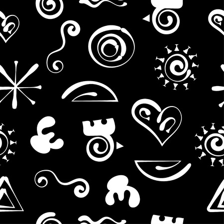 Aztecs seamless pattern, paper wrapping, primitive ancient stylized tribal symbols, stylish vector doodle cartoon background with funny abstract shapes