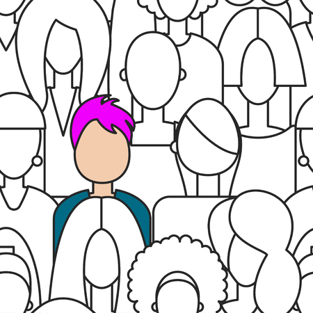 Unique color woman in black and white crowd. Vector seamless pattern   crowd of girls with one special