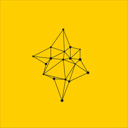 Polyhedra, asymmetrical geometric shape line with points. Futuristic triangular icon, graphic design element. Vector illustration