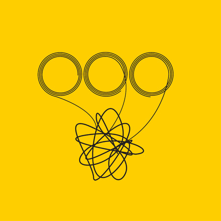 Creative problem solving, multitasking in business, intelligence, idea generation. Tangled tangle, solutions, abstract line icon insight. Vector illustration
