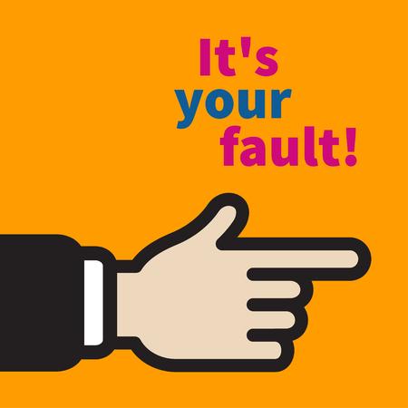 Vorwurf des Opfers, Kritik am Chef, Zeigefinger zeigt schuldig, aggressive Kritik am Manager. Flache Vektorgrafik