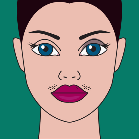 Mustache have women, hormonal imbalance, high testosterone, moustache have girls, cosmetic defect. Vector illustration Archivio Fotografico - 127119733