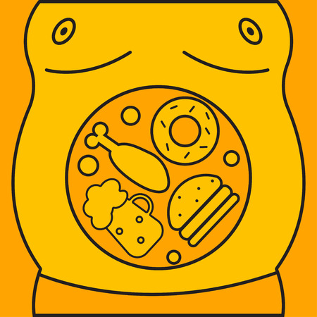 Man with fat belly and junk food in his stomach Illustration