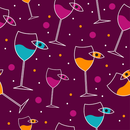 Seamless pattern wine list, background of alcoholic menu of cafe, restaurant, color backdrop with glasses and eye. Vector flat illustration