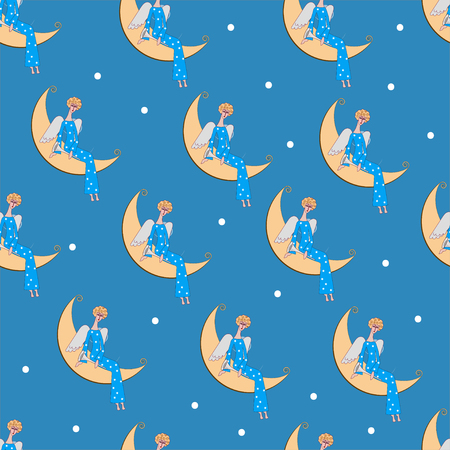 Seamless pattern angel on moon. Template for paper wrapping, print. Vector illustration