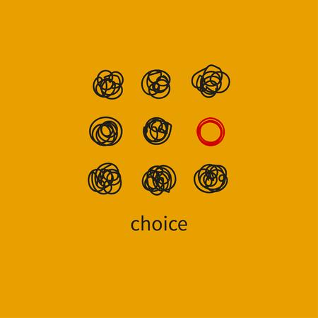 Wahlsymbol, abstrakte Symbolauswahl. Konzeptunterschied, Symbol der Individualität, speziell. Vektor-Illustration Vektorgrafik