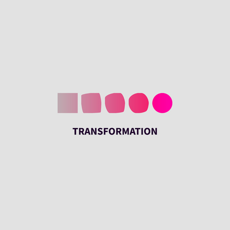 Logo transform, icon change, icon growth, symbol training, evolution, business development, logo education, brand, business coach, evolution sign personal life coaching Illustration