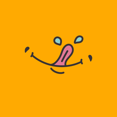 Hungry, tongue and slobber, tongue and saliva, yum sticker, emoticon delicious food, yellow yam banner. Vector illustration
