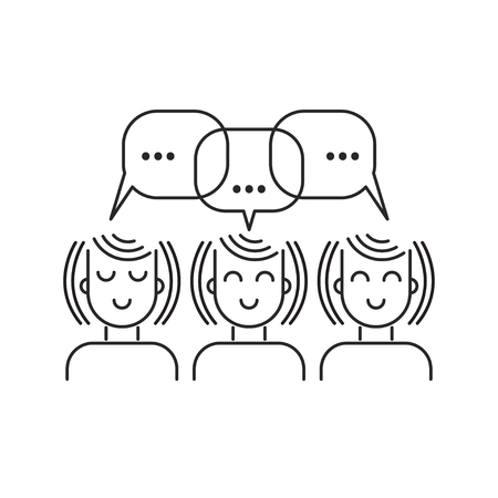Girls chatting line icon, three women commenting, talking, social network, girlfriends. Vector linear illustration