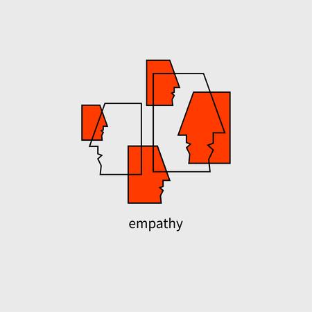 Equipo de comunicación, personal, comunicación empresarial, icono de empatía, icono de psicología de la sociedad Ilustración vectorial