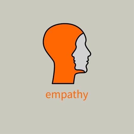 Inteligencia emocional, logotipo dos perfiles humanos, icono de coaching, psicólogo, símbolo de empatía, psiquiatra, terapia, signo de psicología, ilustración vectorial Logos