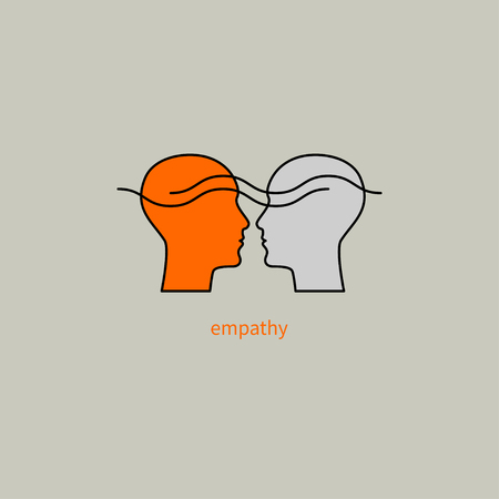 Emotional intelligence, logo two human profiles, coaching icon, psychologist, empathy symbol, psychiatrist, therapy, psychology sign Vector illustration