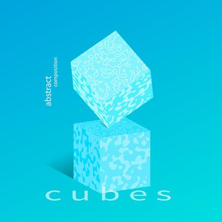 Cartel moderno, cubo de equilibrio en cubo, abstracción de moda, elemento de diseño gráfico de moda, cubierta geométrica. Ilustración vectorial