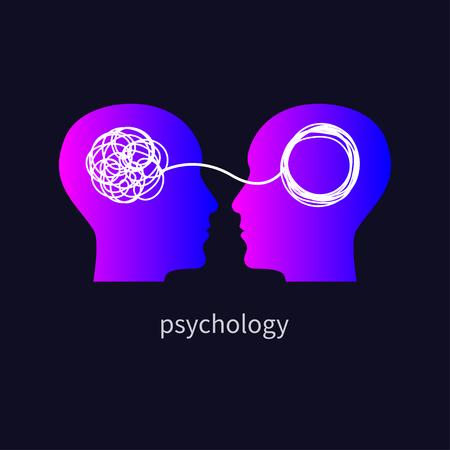 Icono de psicología, psicólogo, icono de psicoterapia, psicoterapeuta, formación de símbolos, coaching, consultoría, dos perfiles humanos. Ilustración vectorial