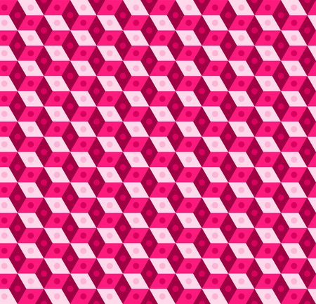 Pink seamless pattern, color web banner with cubes, geometric print, abstract 3D background. Vector illustration