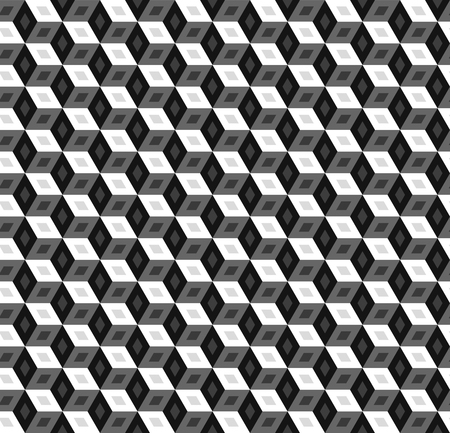 Monochrome cubic seamless pattern, black and white banner with cubes, geometric gray abstract 3D background. Vector illustration