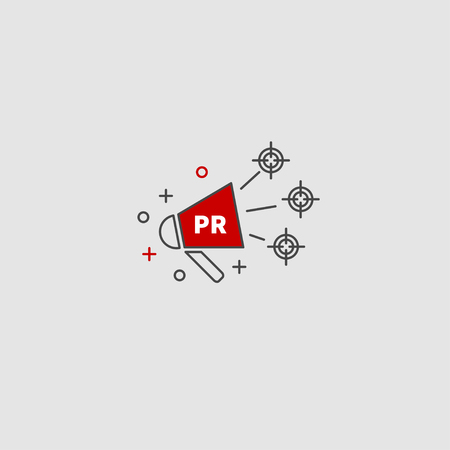 Public relations, pr logo. Vector megaphone. Target audience. Logo communications. Icon PR.