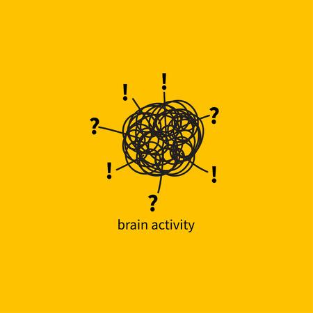 Hersenactiviteit, hyperactiviteit, hand getekende vector illustratie hersenen lost probleem, creativiteit, brainstormen, abstracte zwarte lijn minimale pictogram inzicht. Vector Illustratie