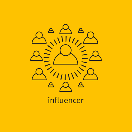 Icon influencer, leader, charismatic,icon personal brand, communication with the public, pr Vector illustration