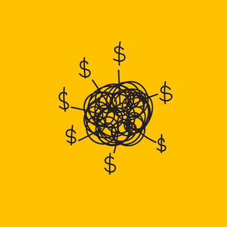 Icon money thinking, business thinking, generating business ideas, hand drawn brain and dollars. Stick vector illustration