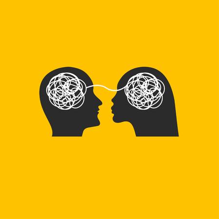 Icono amor, deseo, perfiles de hilo relacionado masculino y femenino, psicología, psicoterapia, icono psicólogo familiar. Ilustración vectorial