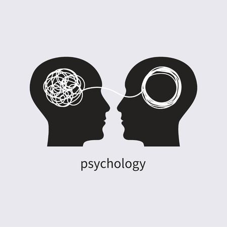 Icona di psicologia. psicologo, psicoterapia con icone, psicoterapeuta, formazione simbolica, coaching, consultazione di due profili umani Illustrazione vettoriale Logo