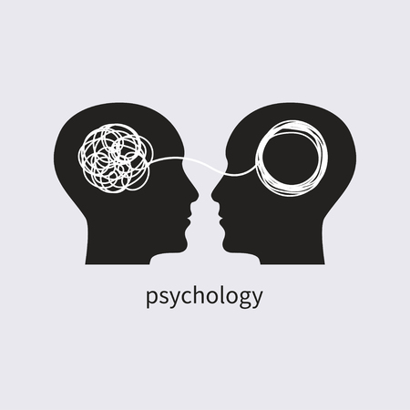 Psychology icon. psychologist, icon psychotherapy, psychotherapist, symbol training, coaching, consulting two human profiles Vector illustration