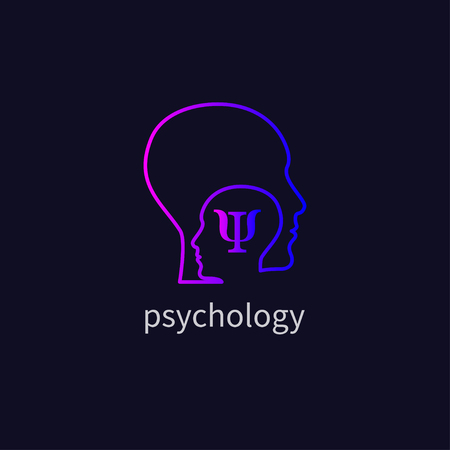 Psychology icon, psychologist, icon psychotherapy, psychotherapist, symbol training, coaching, consulting two human profiles Vector illustration