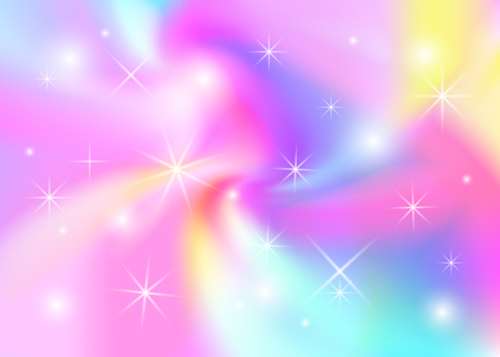 Magic abstract unicorn cute background with stars, rainbow pastel banner. Vector illustration Illustration