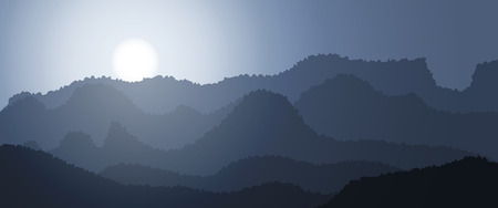Beautiful mountain abstract landscape, mountain wide panorama, sunrise in mountains. Vector illustration