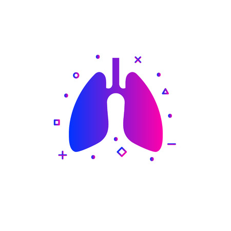 Flat lung icon. Color gradient modern lung logo. Vector illustration 向量圖像