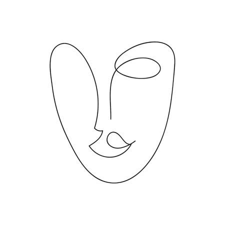 Hand drawn female face Vetores