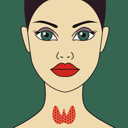 Woman with thyroid gland. Vector flat illustration
