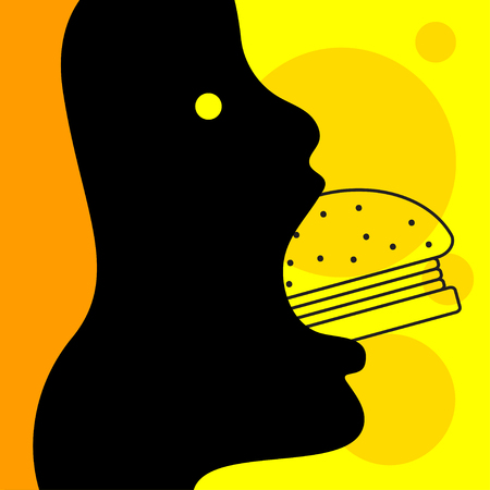 Cartoon woman eating burger, character with gamburger, girl with fast food. Vector illustration Stock Illustratie
