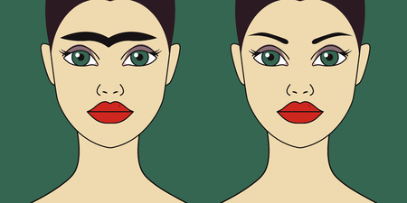 Eyebrow shaping before and after, perfect eyebrows, aesthetic cosmetology. Vector flat illustration Archivio Fotografico - 123386075