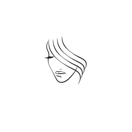 Abstract line beautiful girl face, female portrait. Vector illustration Ilustración de vector
