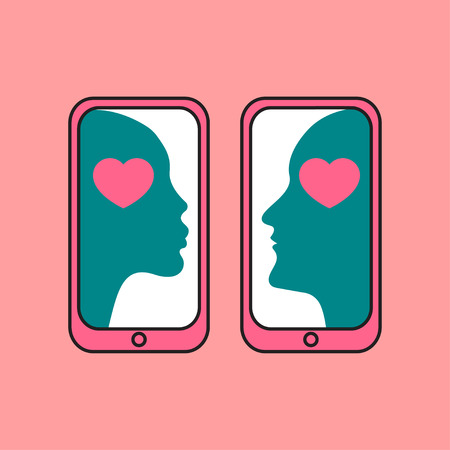 Online dating service icon, color male and female profiles, love of man and woman, dating by phone. Vector line illustration