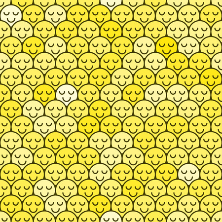 Crowd color seamless pattern people. Smiling people background. Flat design style. Vector illustration