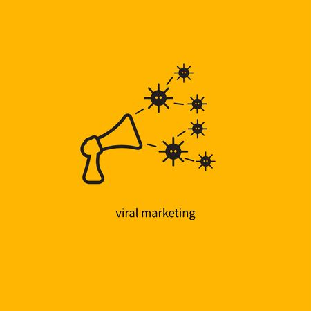 Viral marketing icon, loudspeaker and viruses, graphic design element, megaphone line icon, marketing business strategy. Vector Isolated