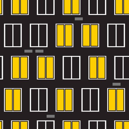 Glowing yellow night windows seamless pattern, city building background, vector illustration