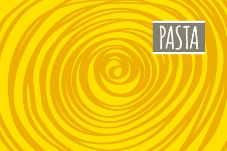 Pasta abstract background, noodle yellow banner, hand drawn cartoon doodle pasta. Vector flat illustration for menu of italian restaurant, cafe Çizim
