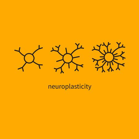 Brain development, mental activity, growth of neural connections, simulators for brain, hand drawn neurons. Vector illustration