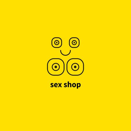 sex shop   funny sex icon, abstract breast, smile, line girl, toys for adults. Vector illustration