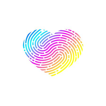 Heart with unique imprint, scanning icon, recognition,  element of logo, heart with fingerprint, print. Vector illustration 矢量图像
